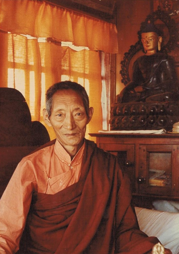 Kalu Rinpoche seated next to buddha